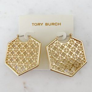Tory Burch-gold logo earring